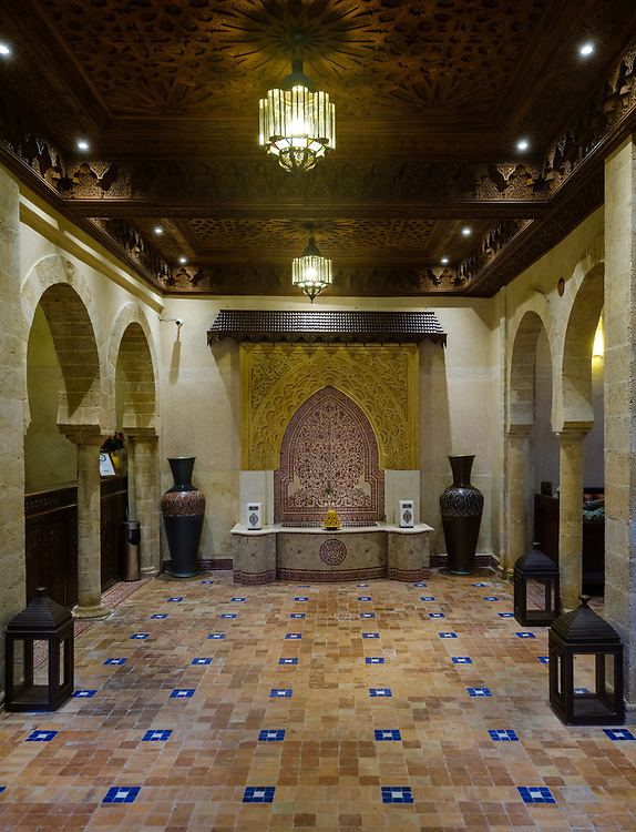 ESSAOUIRA, MOROCCO - CIRCA MAY 2018:  Entrance and lobby of the Riad Mimouna in Essaouria, Morocco. This is an oceanside Riad and very popular tourist destination.