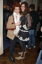 Left to right, CLEO ROCCOS and JADE ADAMS at a party to celebrate the launch of Dkkor Records at Kettners, Romilly Street, Soho, London on 31st March 2005.<br />