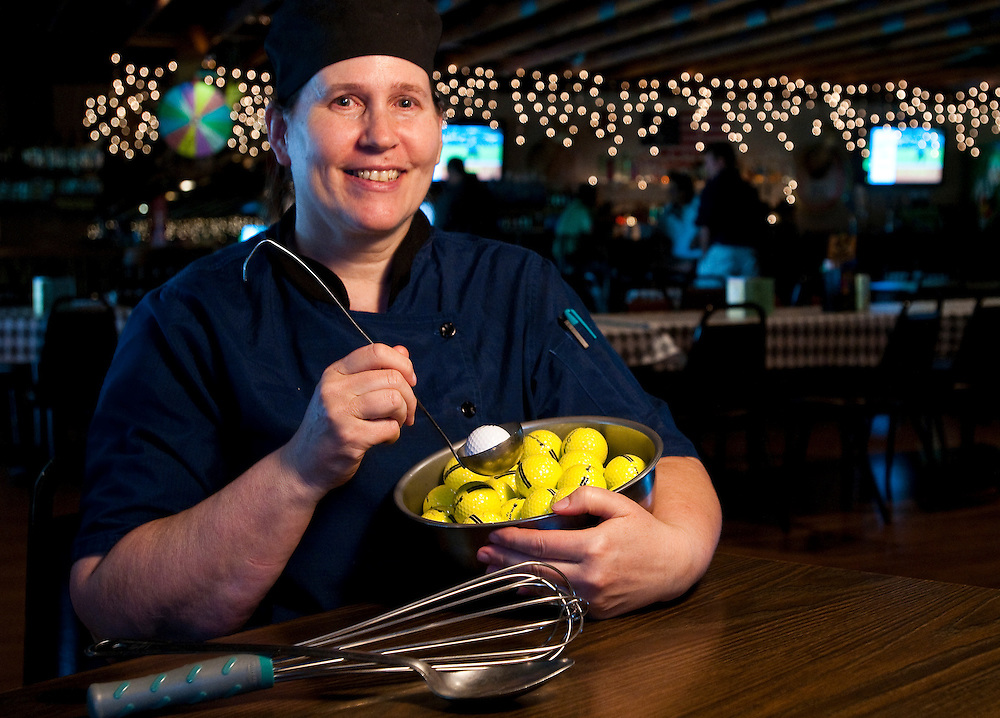 Matt Dixon | The Flint Journal..Paula Banycky poses for a portrait at the Jewel of Grand Blanc golf and events center where she is executive chef.