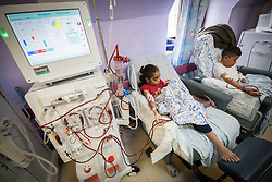 24 February 2020, Jerusalem: 11-year-old Amani (left) and 16-year-old Hassan (right) come to the Augusta Victoria Hospital three times per week for Dialysis. The procedure takes four hours each time.