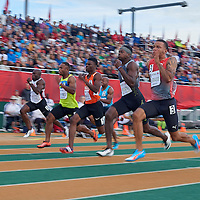 Andre De Grasse on his way to his first sub-10 performance of the 2016 outdoor season