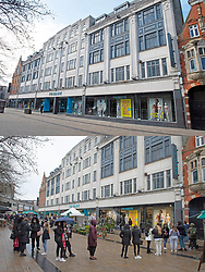 © Licensed to London News Pictures 12/04/2021. Bromley, UK. Comparison images Primark. Yesterday 11.04.2021 a covid restricted empty Bromley High Street around Primark and today 12.04.2021 queues at the Primark Store in Bromley High Street in South East London as non-essential shops re-open after four months closed because of the Coronavirus outbreak. Photo credit:Grant Falvey/LNP **Use requires payment for two pictures**