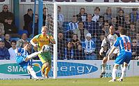 Photo: Ashley Pickering.<br />Colchester United v Norwich City. Coca Cola Championship. 31/03/2007.<br />Jamie Cureton (L) opens the scoring for Colchester