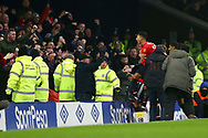 Jesse Lingard of Manchester United celebrates with his teammates after scoring his teams 2nd goal. Premier league match, Everton v Manchester Utd at Goodison Park in Liverpool, Merseyside on New Years Day, Monday 1st January 2018.<br /> pic by Chris Stading, Andrew Orchard sports photography.