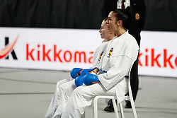 November 10, 2018 - Madrid, Madrid, Spain - Cristina Vizcaino and Cristina Ferrer of Spain, Iran Team and Spain Team for the bronce medal and the third place of Female Kumite for Team tournament during the Finals of Karate World Championship celebrates in Wizink Center, Madrid, Spain, on November 10th, 2018. (Credit Image: © AFP7 via ZUMA Wire)