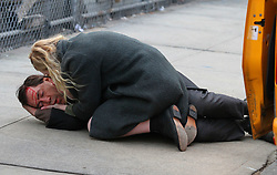 "Javier Bardem and Elle Fanning are seen filming an intense dramatic scene on the set of their upcoming movie ""Molly"" in Brooklyn. The scene involved Javier getting tangled and struggling to get out of a cab where he falls face first to the ground and bleeds from the forehead as his costar Elle Fanning is seen holding him and crying out for help. Javier will be playing a mental person and will be the father of his costar Elle Fanning. 16 Jan 2019 Pictured: Javier Bardem and Elle Fanning. Photo credit: LRNYC / MEGA TheMegaAgency.com +1 888 505 6342"