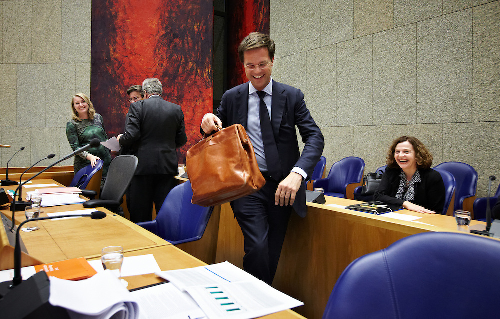 Nederland. Den Haag, 22 september 2011.<br /> Premier Rutte in vak K.<br /> Tweede dag van de algemene politieke beschouwingen in de Tweede Kamer.<br /> Foto Martijn Beekman
