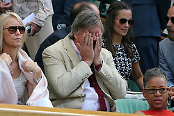 @ London News Pictures. 09/07/2015.<br /> Stephen Fry during the tennis match where Serena Williams beats Maria Sharpova in the semi finals of the Ladies Wimbledon Tennis Championships today.. Photo credit:LNP