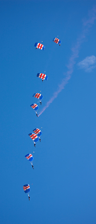 RAF Falcons freefall parachute team display their canopy stack skill in air display at RAF Brize Norton Air Base, UK