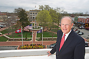 Editorial photography of Bob McCaslin, Mayor of Bentonville, Arkansas, overlooking the downtown Bentonville square.<br /> <br /> One time usage granted to Arkansas Business for an October 2016 publication.