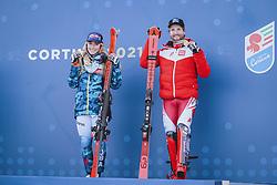 15.02.2021, Cortina, ITA, FIS Weltmeisterschaften Ski Alpin, Alpine Kombination, Siegerehrung, im Bild Goldmedaillen Gewinnerin und Weltmeisterin Mikaela Shiffrin (USA), Goldmedaillen Gewinner und Weltmeister Marco Schwarz (AUT) // Gold Medalist and World Champion Mikaela Shiffrin of the USA Gold Medalist and World Champion Marco Schwarz of Austria during the winner ceremony for the alpine combined of FIS Alpine Ski World Championships 2021 in Cortina, Italy on 2021/02/15. EXPA Pictures © 2021, PhotoCredit: EXPA/ Johann Groder