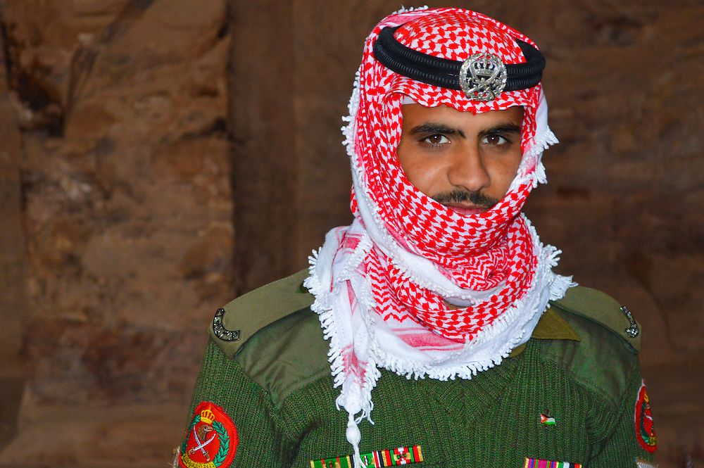This is a Bedouin soldier who patrols the temples in Petra ruins Jordan.