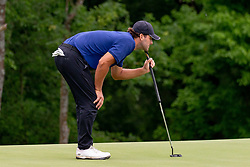 May 9, 2019 - Dallas, TX, U.S. - DALLAS, TX - MAY 09: Tony Romo lines up his putt on the 17th green during the first round of the AT&T Byron Nelson on May 9, 2019 at Trinity Forest Golf Club in Dallas, TX. (Photo by Andrew Dieb/Icon Sportswire) (Credit Image: © Andrew Dieb/Icon SMI via ZUMA Press)