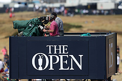 TV cameras film the action during day four of The Open Championship 2018 at Carnoustie Golf Links, Angus. PRESS ASSOCIATION Photo. Picture date: Sunday July 22, 2018. See PA story GOLF Open. Photo credit should read: David Davies/PA Wire. RESTRICTIONS: Editorial use only. No commercial use. Still image use only. The Open Championship logo and clear link to The Open website (TheOpen.com) to be included on website publishing.