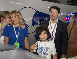 Laura Tenoudji-Estrosi and her son Milan Tapiro, Christian Estrosi pose in Toro Rosso stand during the Grand Prix de France 2018, Le Castellet on June 23rd, 2018. Photo by Marco Piovanotto/ABACAPRESS.COM