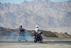 Steve Decosa (L) of New York riding his 1915 Harley-Davidson beside Vinnie Grasser of Florida on his 1916 Harley-Davidson during the Motorcycle Cannonball Race of the Century. Stage-14 ride from Lake Havasu CIty, AZ to Palm Desert, CA. USA. Saturday September 24, 2016. Photography ©2016 Michael Lichter.