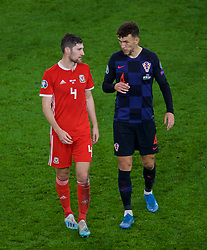 CARDIFF, WALES - Sunday, October 13, 2019: Wales Ben Davies (L) and Croatia's Ivan Perišić after the UEFA Euro 2020 Qualifying Group E match between Wales and Croatia at the Cardiff City Stadium. The game ended in a 1-1 draw. (Pic by Paul Greenwood/Propaganda)