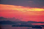 San Juan Islands, evening light, spring, view from Chuckinut Mountain near Bellingham, Washington, USA