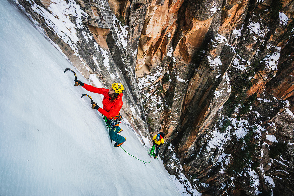 Nikki Smith climbing Bo Beck WI4, Zion National Park.
