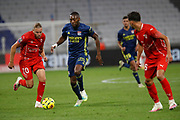 Karl TOKO EKAMBI of Lyon and Renaud RIPART of Nimes during the French championship Ligue 1 football match between Olympique Lyonnais and Nimes Olympique on September 18, 2020 at Groupama stadium in Decines-Charpieu near Lyon, France - Photo Romain Biard / Isports / ProSportsImages / DPPI