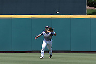 02 June 2016: Nova Southeastern's Kevin Suarez catches a fly ball. The Nova Southeastern University Sharks played the Cal Poly Pomona Broncos in Game 11 of the 2016 NCAA Division II College World Series  at Coleman Field at the USA Baseball National Training Complex in Cary, North Carolina. Nova Southeastern won the semifinal game 4-1 and advanced to the championship series.