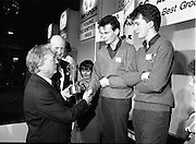 08/01/1988.01/08/1988.8th January 1988 .The Aer Lingus Young Scientist of the Year Award at the RDS, Dublin ..L-R The Taoiseach Charles Haughey, T.D., David Kennedy, Chief Executive, Aer Lingus, Fergal McAleavey and Kevin McCauley, Best Group Project winners from Abbey Vocational School, Donegal Town,