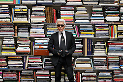 Exclusive. German designer Karl Lagerfeld poses in his studio rue de Lille in Paris, France on November 12, 2008. Photo by Eric Dessons/JDD/ABACAPRESS.COM