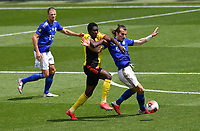 Football - 2019 / 2020 Premier League - Watford vs. Leicester City<br /> <br /> Leicester City's Caglar Soyuncu holds off the challenge from Watford's Ismaïla Sarr, at Vicarage Road.<br /> <br /> COLORSPORT/ASHLEY WESTERN