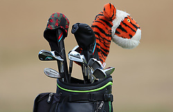 General view of USA's Tiger Woods' golf bag during preview day four of The Open Championship 2018 at Carnoustie Golf Links, Angus. PRESS ASSOCIATION Photo. Picture date: Wednesday July 18, 2018. See PA story GOLF Open. Photo credit should read: Richard Sellers/PA Wire. RESTRICTIONS: Editorial use only. No commercial use. Still image use only. The Open Championship logo and clear link to The Open website (TheOpen.com) to be included on website publishing.