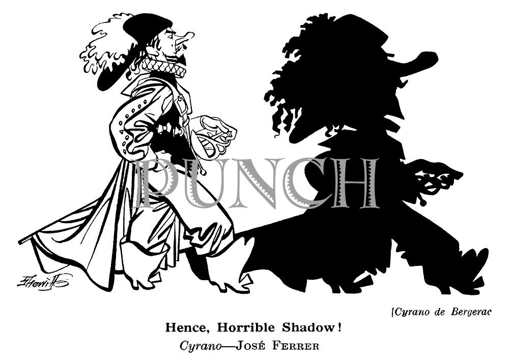 Punch cartoons by Robert Sherriffs..Film Review ; ..Cyrano de Bergerac : Jose Ferrer