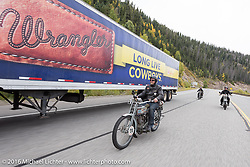 Thomas Trapp, owner of the Harley-Factory Frankfurt dealership in Germany rides his 1916 Harley-Davidson down the west side of Wolf Creed Pass during the during the Motorcycle Cannonball Race of the Century. Stage-10 ride from Pueblo, CO to Durango, CO. USA. Tuesday September 20, 2016. Photography ©2016 Michael Lichter.