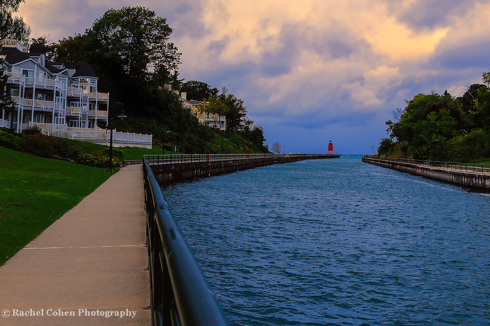 """""""Walkway to Charlevoix Light Station""""<br /> <br /> The beautiful walkway that goes from the town center in Charlevoix to the South Pier Light Station."""