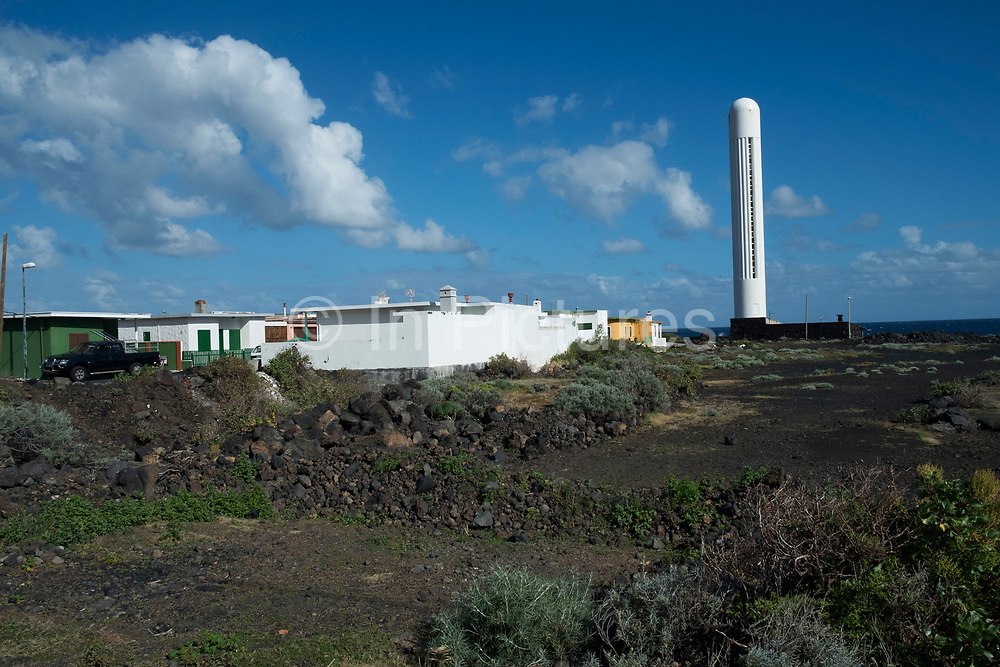 Arenas Blancas Lighthouse in La Salemera in La Palma, Canary Islands, Spain. The Arenas Blancas Lighthouse is an active lighthouse in the municipality of Villa de Mazo, near the village of La Salemera. It is one of four main lighthouses on La Palma, each one marking a different quadrant of the island. La Palma, also San Miguel de La Palma, is the most north-westerly Canary Island in Spain. La Palma has an area of 706km2 making it the fifth largest of the seven main Canary Islands.