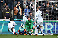 Kristoffer Nordfeldt, the Swansea city goalkeeper (c) in action.The Emirates FA Cup, quarter-final match, Swansea city v Tottenham Hotspur at the Liberty Stadium in Swansea, South Wales on Saturday 17th March 2018.<br /> pic by  Andrew Orchard, Andrew Orchard sports photography.