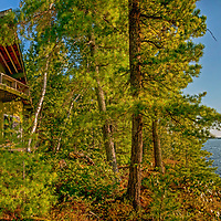 A cottage sits on an island on Lake of the Woods, Ontario, Canada.