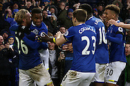 Ademola Lookman of Everton (2 l) celebrates with the teammates after scoring his teams 4th goal. Premier league match, Everton v Manchester City at Goodison Park in Liverpool, Merseyside on Sunday 15th January 2017.<br /> pic by Chris Stading, Andrew Orchard sports photography.