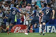 Paul Pogba of France celebrates after his goal with Blaise Matuidi and Olivier Giroud during the 2018 FIFA World Cup Russia, final football match between France and Croatia on July 15, 2018 at Luzhniki Stadium in Moscow, Russia - Photo Thiago Bernardes / FramePhoto / ProSportsImages / DPPI