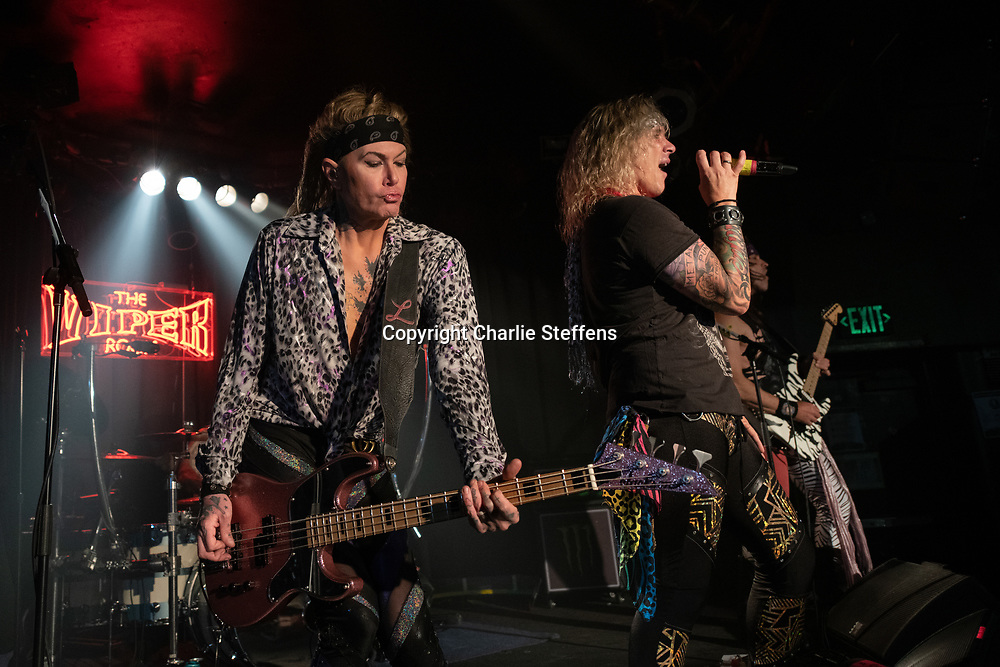 LEXXI FOXX (L) and MICHAEL STARR of Steel Panther at the Viper Room in Los Angeles, California
