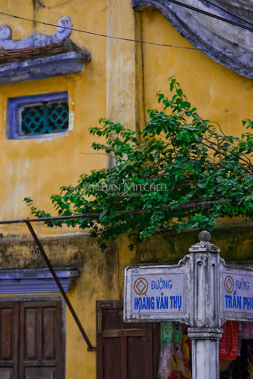 Street sign in the ancient town of Hoi An.