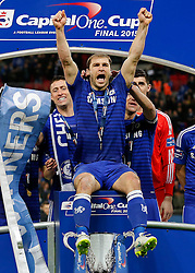 Branislav Ivanovic of Chelsea and his teammates celebrate with the trophy after winning the Capital One Cup Final - Photo mandatory by-line: Rogan Thomson/JMP - 07966 386802 - 01/03/2015 - SPORT - FOOTBALL - London, England - Wembley Stadium - Chelsea v Tottenham Hotspur - Capital One Cup Final.