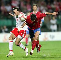 Fotball<br /> EM-kvalifisering<br /> 06.09.2006<br /> Polen v Serbia<br /> Foto: Wrofoto/Digitalsport<br /> NORWAY ONLY<br /> <br /> MACIEJ ZURAWSKI /L/ OF POLAND AND  MILAN STEPANOV /R/ OF SERBIA