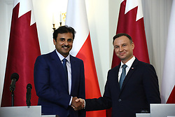 May 5, 2017 - Warsaw, Poland - Emir of Qatar Tamam bin Hamad al-Thani and President Andrzej Duda gave common press statement after bilateral talks on agreements in Warsaw. (Credit Image: © Jakob Ratz/Pacific Press via ZUMA Wire)