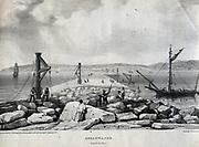 Construction of Plymouth Breakwater, Devon, England, 1812-1848.