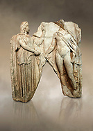 Roman Sebasteion relief  sculpture of Demeter and Triptolemos, Aphrodisias Museum, Aphrodisias, Turkey.  Against an art background.<br /> <br /> Deneter - stately, veiled and holding a sceptre - hands a bunch of wheat stalks to the young hero Trptolomos. Demeter was the grain goddess, and it was Triptolemos, a hero from Eleusis near Athens, whom she chose to bring grain cultivation to mankind .<br /> <br /> If you prefer to buy from our ALAMY STOCK LIBRARY page at https://www.alamy.com/portfolio/paul-williams-funkystock/greco-roman-sculptures.html . Type -    Aphrodisias     - into LOWER SEARCH WITHIN GALLERY box - Refine search by adding a subject, place, background colour, museum etc.<br /> <br /> Visit our ROMAN WORLD PHOTO COLLECTIONS for more photos to download or buy as wall art prints https://funkystock.photoshelter.com/gallery-collection/The-Romans-Art-Artefacts-Antiquities-Historic-Sites-Pictures-Images/C0000r2uLJJo9_s0