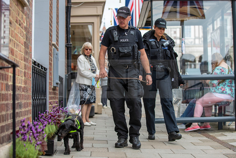 © Licensed to London News Pictures. 16/05/2018. Windsor, UK. A police search dog at work in Windsor ahead of the Royal Wedding. Prince Harry and Meghan Markle are to be married on Saturday in Windsor. Photo credit: Rob Pinney/LNP
