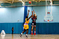 Justin Gray of Bristol Flyers shoots - Photo mandatory by-line: Robbie Stephenson/JMP - 10/04/2019 - BASKETBALL - UEL Sports Dock - London, England - London Lions v Bristol Flyers - British Basketball League Championship