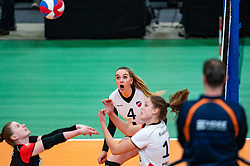 Emma Bredewoud of Apollo 8 in action during the cupfinal between Laudame Financials VCN vs. Apollo 8 on April 05, 2021 in sports hall MartiniPlaza, Groningen
