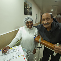 Khalil Sa'adeh from Jerusalem (Right) with a nurse in the Geriatric Department of the Augusta Victoria Hospital in Jerusalem. The Augusta Victoria Hospital is located on the southern side of Mount of Olives in East Jerusalem and is run by the Lutheran World Federation, LWF.