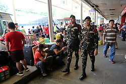 QUEZON , Sept. 7, 2016 (Xinhua) -- Soldiers from the Armed Forces of the Philippines (AFP) patrol a crowded bus station in Quezon City, the Philippines, Sept. 7, 2016. The AFP and the Philippine National Police (PNP) deployed soldiers and policemen in crowded areas in Metro Manila in accordance to the declaration of Philippine President Rodrigo Duterte placing the Philippines in a state of national emergency on account of lawless violence in the wake of the terror attack Friday night at his hometown in Davao City which killed 14 people and injuring numerous people. (Xinhua/Rouelle Umali) .****Authorized by ytfs* (Credit Image: © Rouelle Umali/Xinhua via ZUMA Wire)