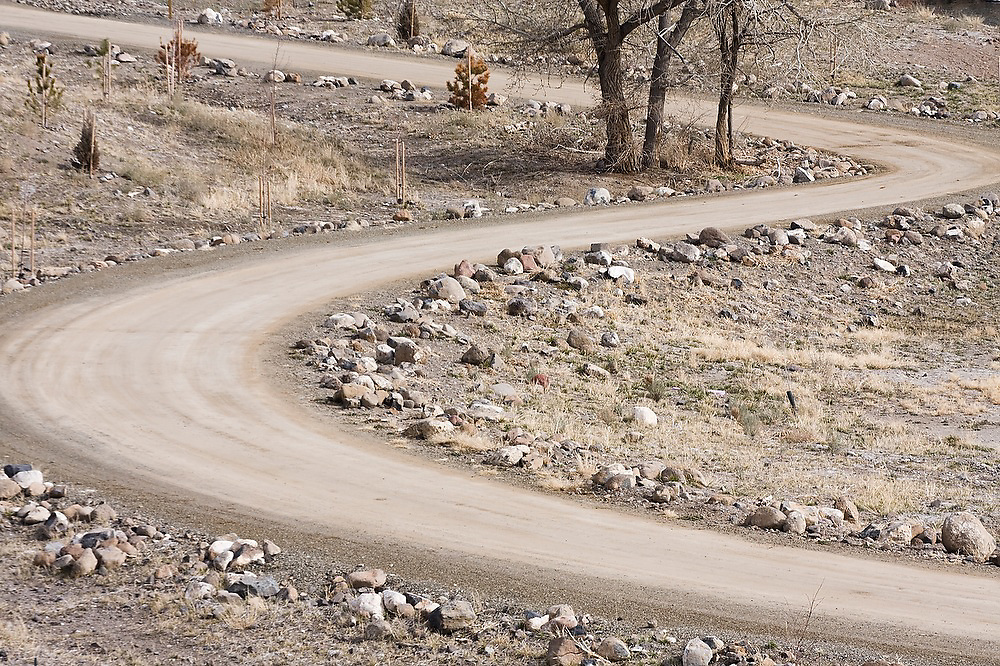 A freshly constructed curved road at Lockwood, near Reno, Nevada. The site is one of three properties so far being restored in a $20 million effort by the Nature Conservancy to revitalize the Lower Truckee River ecosystem.